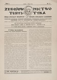 Zdrojownictwo i Turystyka : organ oficyalny Krajowego Związku Zdrojowisk i Uzdrowisk. 1914, nr 3 (1 V)