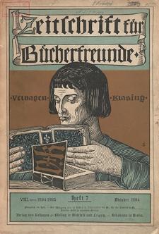 Zeitschrift für Bücherfreunde : Monatshefte für Bibliophilie und verwandte Interessen. 1904, nr 7