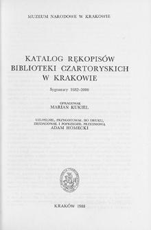 Katalog rękopisów Biblioteki Czartoryskich w Krakowie : sygnatury 1682-2000