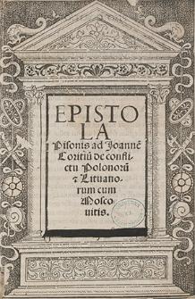 Epistola Pisonis ad Joanne[m] Coritiu[m] de conflictu Polonoru[m] et Lituanorum cum Moscouitis