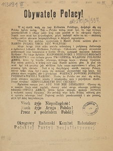 """Obywatele Polacy! = [Inc.: """"W tej chwili ważą się losy Królestwa Polskiego...""""]"""